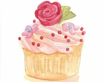 Cupcake 39 - Original Watercolor Painting 8x6 inches