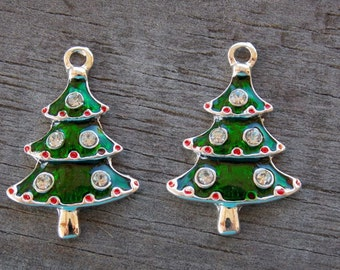 4 Enameled Christmas Tree Charms 26mm Silver with Green Enamel and Rhinestones