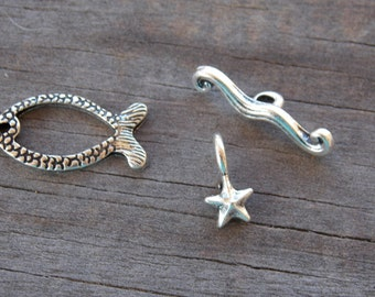 8 Silver Fish Toggle Clasps 19mm Antiqued Silver Fish Wave and Starfish Clasp sets