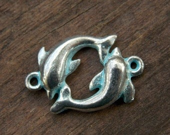 6 Silver Dolphin Connector Charms Silver and Blue 22mm