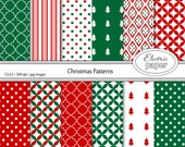 Christmas Patterns Red and Green Digital Paper Pack - Christmas Colors Patterned Papers - Instant Download