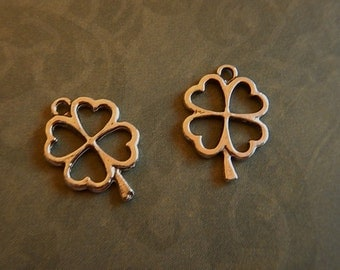 2 Pc Antiqued Silver Plated Pewter Open Shamrock Clover Charms Jewelry Findings