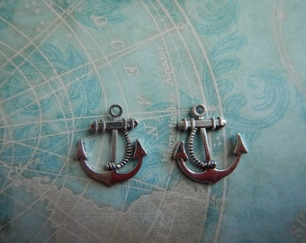 2 Antiqued Silver Finish Pewter Anchor Charms Pendant 2-sided Focal Findings Nautical