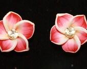 Plumeria Hawaiian Flower Stud Earrings New Unique Handmade