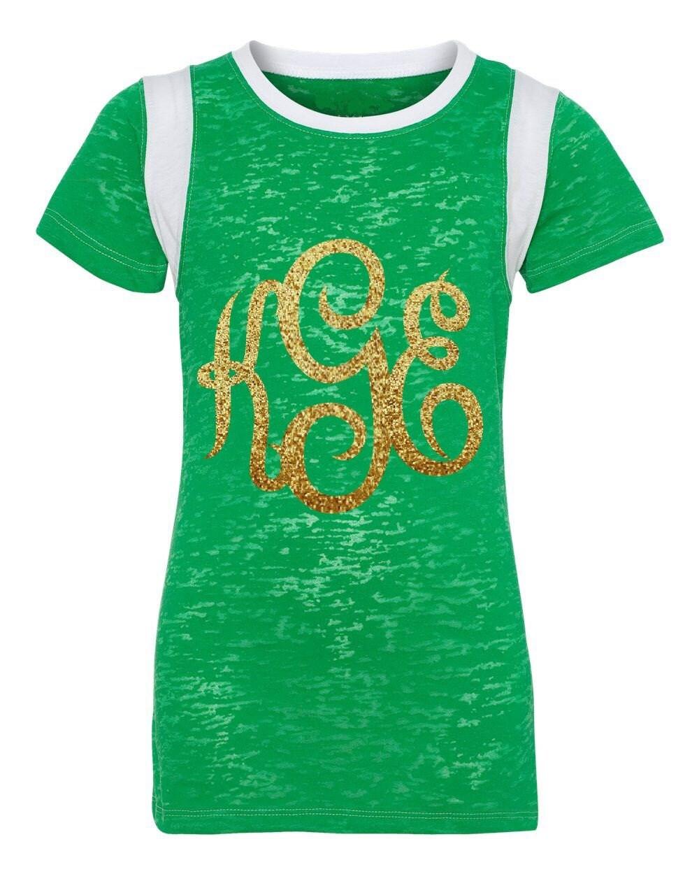 Custom Glitter Monogram Burnout T Shirt Super Cute For St