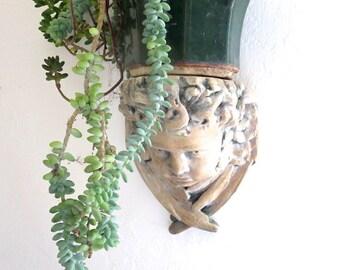 Cherub Statuary Large Angel Head Wall Sconce Indoor Outdoor