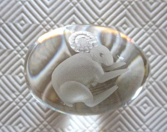 Crystal Egg Paperweight made in Sweden by Ekenas  Etched Ram Zodiac Sign Aries