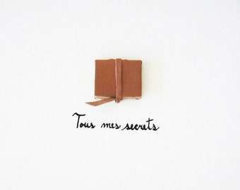 Original Book Art - Tous mes secrets (All my secrets) - beige brown leather, elegant paper ephemera, contemporary, French text, 3D, 8x10