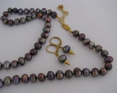 Peacock Pearl Necklace, Knotted Pearl Necklace, Freshwater Pearls, Brown Pearls, Purple Brown Pearls, Earrings, Necklace Earring Set