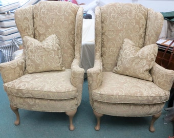 Manorcraft of High Point Wing Chairs (Pair) w/Pillows - Totally Refurbished