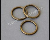 100 ANTIQUED Gold Bronze Closed 10mm Jumprings - 18 gauge Round Plated Brass Soldered Closed Jump Ring Link Connectors - Instant Ship - 5966