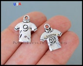 1 FOOTBALL T-Shirt Charm Pendant - 19mm Silver Soccer Football Jersey Cloth Sport Nickel Free Metal Charm - Instant Ship - USA - 6182