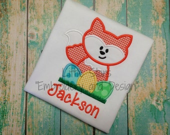 Cute Fox with Easter Eggs - Personalized, Applique Boy or Girl