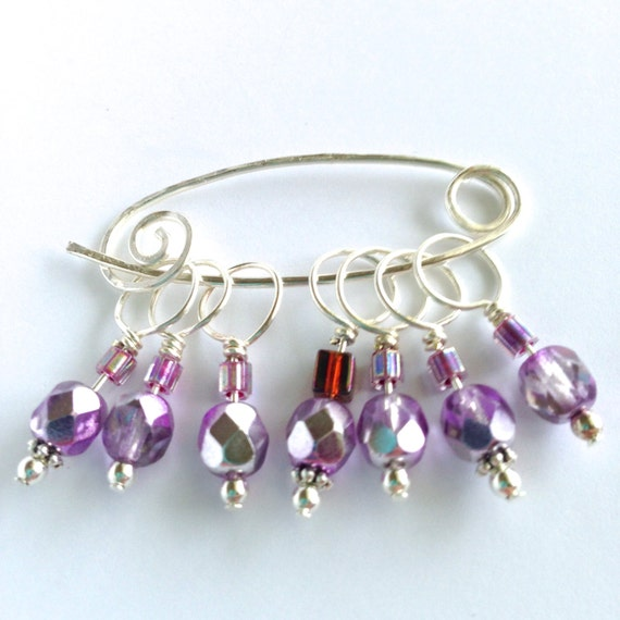 Decorative Knitting Stitch Markers : Decorative Knitting Stitch Markers Lilac Fire-Polished