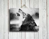 A Howling Wolf - howling wolf art - native american style art - wolf photo - wolf photography - wolf dog - wolf photograph - wolf decor