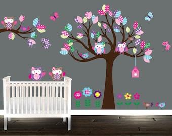 Girls Owl Wall Decals flowers nursery stickers Tree Birds Owls butterflies branch pink purple