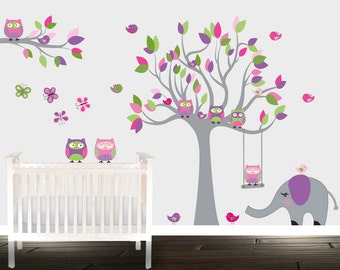 wall stickers, children wall decals, wall tree decal, nursery decals, owl all decals, vinyl tree,