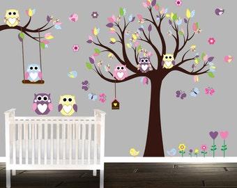 Owl Wall Decal Large Nursery set owl wall sticker, branch flowers butterflies birdhouse vinyl wall art