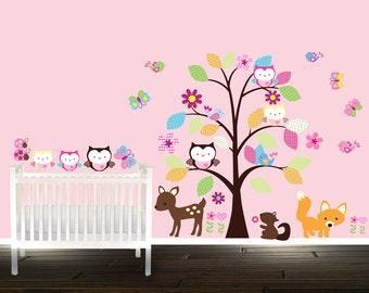 Woodland creatures owl wall decals, cute short owls for girls, fox decals, deer sticker, tree wall decal - Nursery Tree
