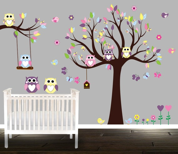 Chouette wall decal vaste p pini re set sticker mural de for Collant mural hibou