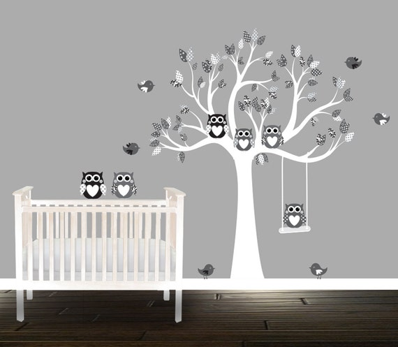 Black and Grey Owl Wall decals nursery Tree patterns