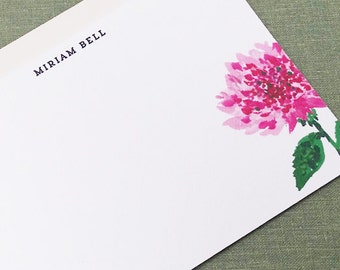 Pink Flower  Personalized Flat Notes, Set of 15