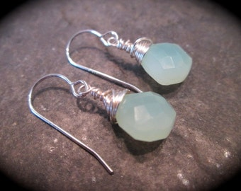 Green Chalcedony wire wrapped briolette earrings with sterling silver ear wires