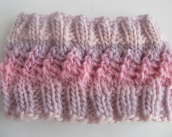 Adorable Knit Headband for Baby, Pink and Lavender