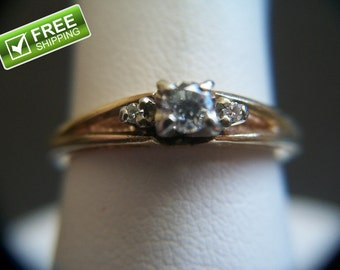 14k Yellow Gold Birks Solitaire .20ctw Diamond Engagement Ring Size 6.5 3 Grams