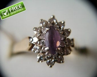 Estate Find 14K Yellow Gold .23ctw Amethyst Ring with 24 Diamonds 4 Grams Size 9