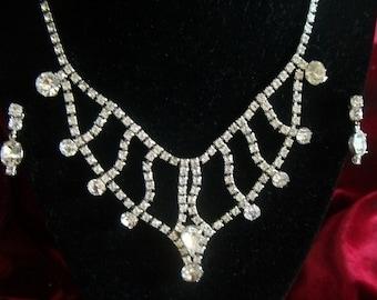 Signed Coro Silver Toned Rhinestone Necklace & Screw Back Earrings