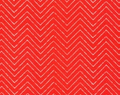 Organic Red Chevron Fabric - Cosmic Convoy by Michéle Brummer Everett from Cloud 9 - 1/2 Yard