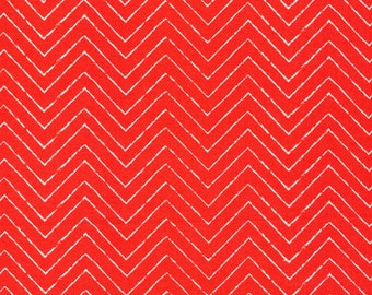 Organic Red Chevron Fabric - Cosmic Convoy by Michéle Brummer Everett from Cloud 9 - 1/2 Yard