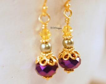 SALE Mardi Gras Earrings, Vermeil Gold, Crystals and Pearl Dangle Pierced Earrings. OOAK Handmade Earrings. CKDesigns.US