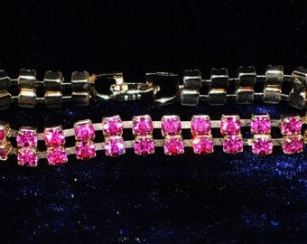 Vintage Pink Rhinestone Weiss Bracelet