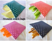 Reusable snack bag, small - made to order in pink, purple, navy, or turquoise polka dot