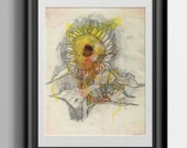 Sunflower Watercolor Sketch Print