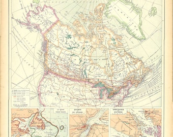 1930s Vintage Map of Canada,  Political Division