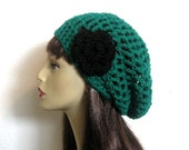 Crochet Green Slouch Hat with Flower Emerald Green Slouch Beanie Kelly Green Slouch Cap Women Crochet Tam Green Crochet Hat Green slouch hat