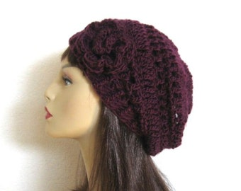 Purple Slouch Hat With Flower Deep Purple Hat Slouch Beanie Plum Beanie Slouchy Cap Eggplant Beret Dark Purple Crochet slouch hat Fig Beanie