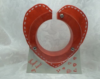 Moving Sale - Red Heart Wooden Bank