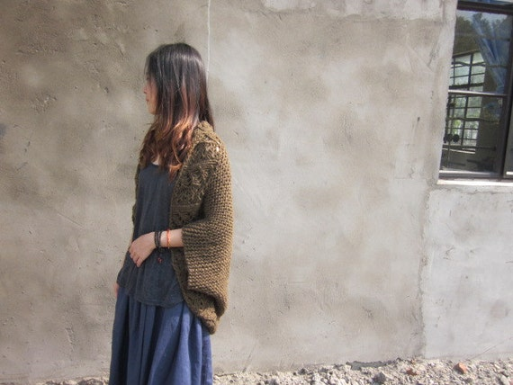 Hand Knit Shrug and Sweter in Olive Black-AS03