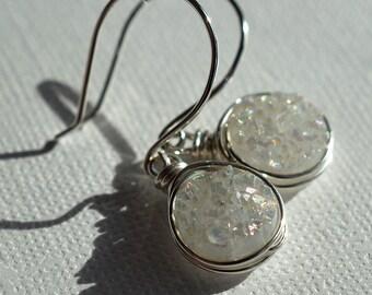 White Druzy Earrings, Sterling Earrings, Sparkly Earrings, Wire Wrapped, Druzy Jewelry, Druzy Quartz, Dangle Earrings