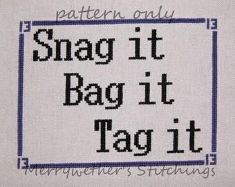 Warehouse 13 -Snag It, Bag It, Tag It - Cross Stitch PATTERN