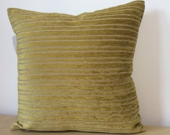 Lime / Zest velvet cushion cover in  a BEADED STRIPED DESIGN with putty detail. Osborne and Little Square cushion cover Pillow Sham