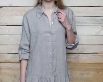 Pure Linen Oversize Longsleeve Dress Tunic
