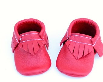 Red Leather Baby Moccasins