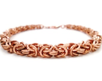 Mens Copper Bracelet,Copper Chainmail Bracelet, Byzantine Chainmaille Jewelry