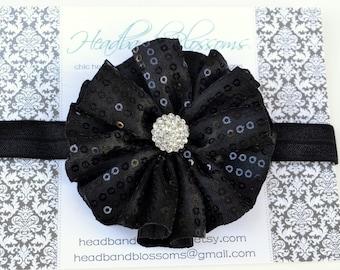 Halloween Black Sequin Fabric Flower with Rhinestone Center on Elastic Headband - Newborn Baby Girl Adult - Rhinestone