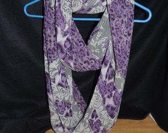 Purple Grey Infinity Scarf